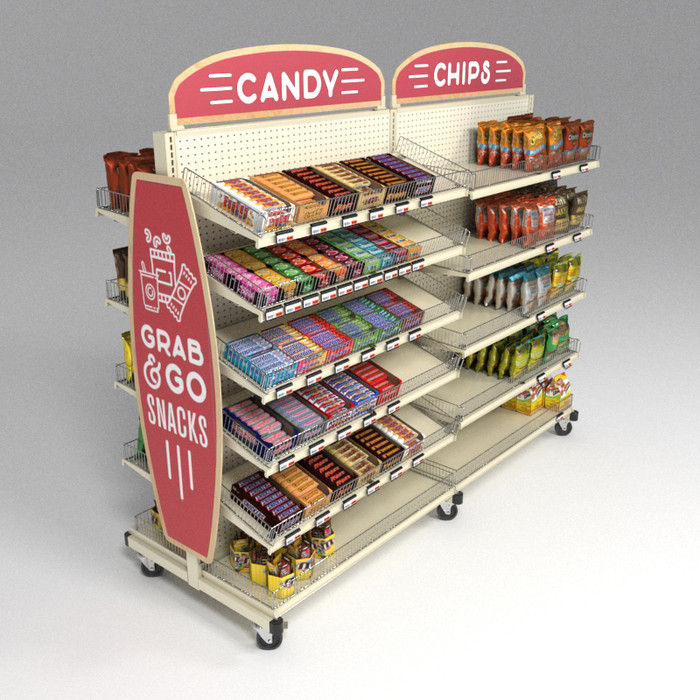 rolling candy display rack for grocery and convenience stores