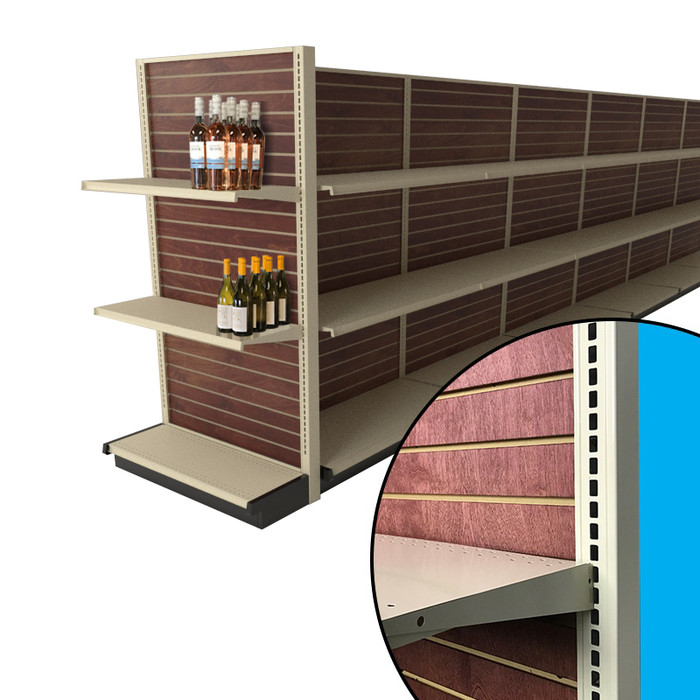 End cap slatwall gondola shelving unit shown attached to the end of a liquor store aisle. Includes stained wood slatwall backings, two shelves, and example wine bottles.