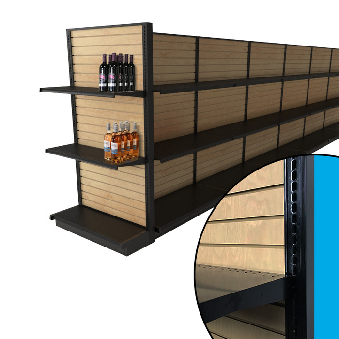 Black slatwall gondola endcap shelving unit shown with stained wood slatwall backings and two black shelves. Shown in liquor store configuration with example wine bottles.