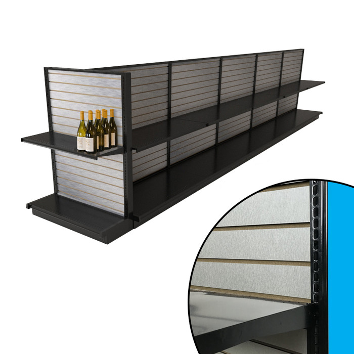 Black end cap gondola shelving unit shown attached to island display in liquor store configuration with faux aluminum slatwall backings and example wine bottles.