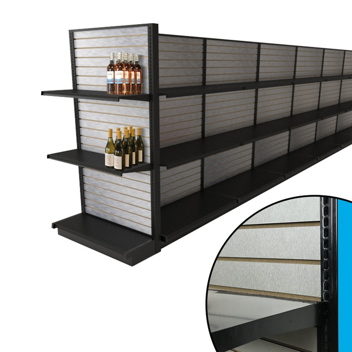 Black end cap gondola shelving unit shown attached to aisle in liquor store configuration, complete with brushed aluminum slatwall backings and example liquor bottles.