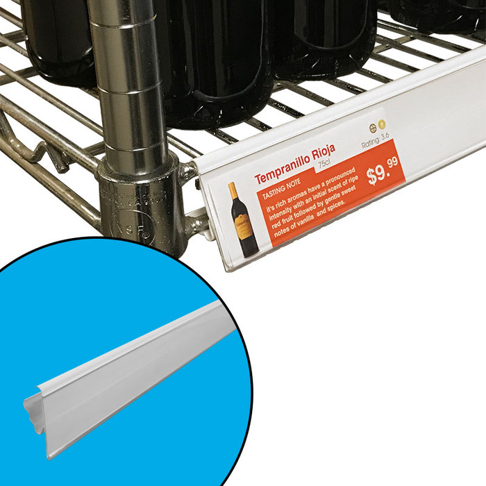 Label holder for Metro wire shelving shown attached, along with position in 30 and 60 degree tilt-in angles.