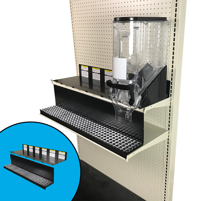 Crumb tray and top shelf kit shown on 36-inch-wide end cap gondola shelf with Trade Fixtures 6-inch-wide gravity bin.