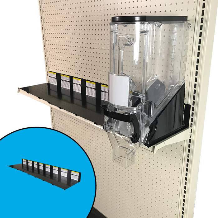 Bulk bin parts in the form of a secondary locking device attached to an end cap gondola shelf. Shown with 6-inch-wide Trade Fixtures gravity bin as example.