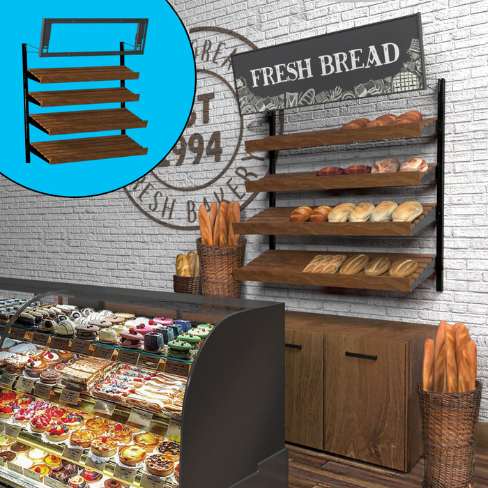 Retail wall display shown in bakery configuration with wood slatted shelves, bread, and signage. Inside image shows telebracket for holding four-foot-wide sign.