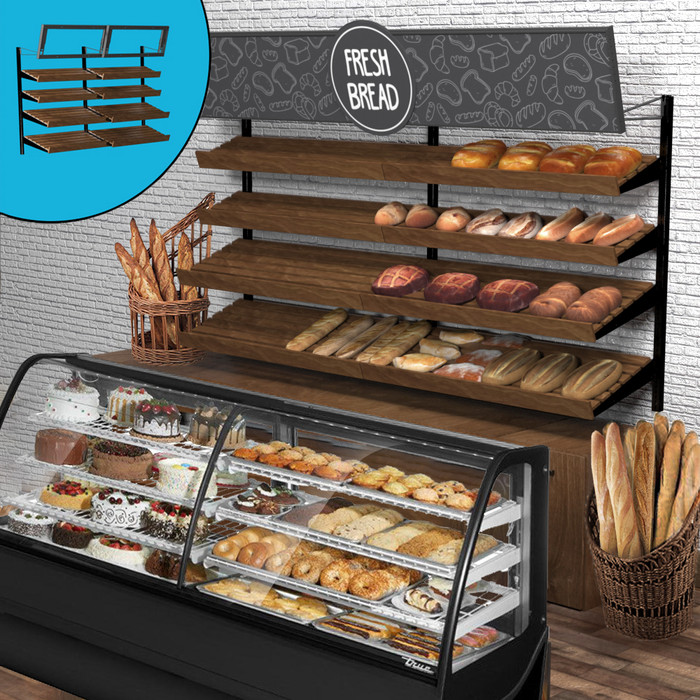 Retail wall display shown in bakery configuration with wood slatted shelves, bread, and signage. Inside image shows telebracket for holding eight-foot-wide sign.