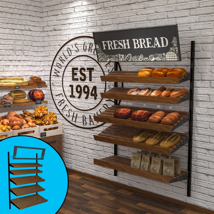 "Retail wall display shown in bakery/cafe configuration with wood slatted shelves, baguettes, bread, and breadsticks. Sign showing ""Fresh Bread"" included, with secondary view showing telebracket."