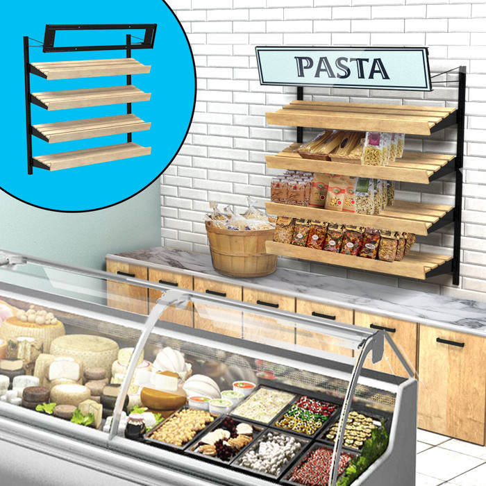 Retail wall display shown in grocery configuration with wood slatted shelves, pasta, and signage. Inside image shows telebracket for holding four-foot-wide sign.