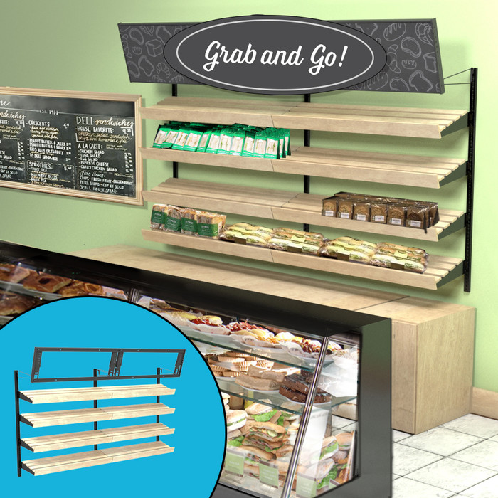 Retail wall display shown in bakery configuration with wood slatted shelves, bread, sandwiches, and signage. Inside image shows telebracket for holding eight-foot-wide sign.