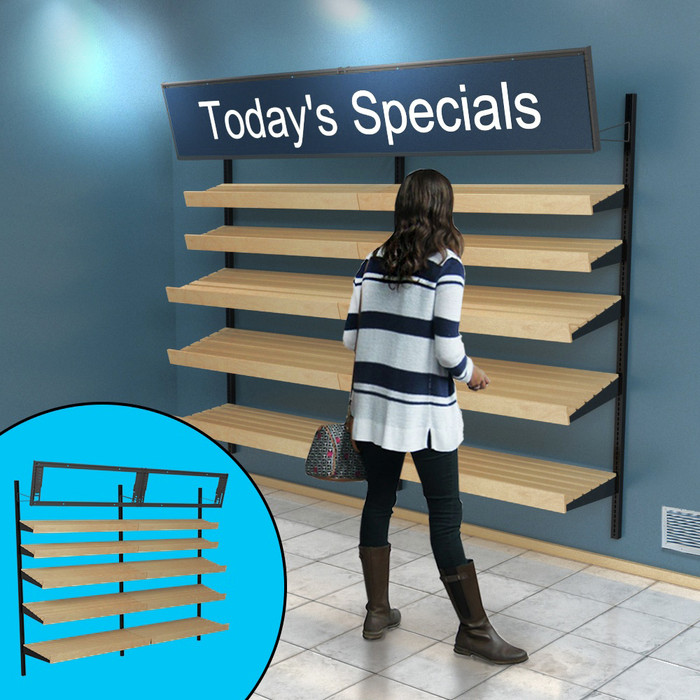 Retail wall display shown in empty configuration with stained wood slatted shelves and signage. Inside image shows telebracket for holding eight-foot-wide sign.