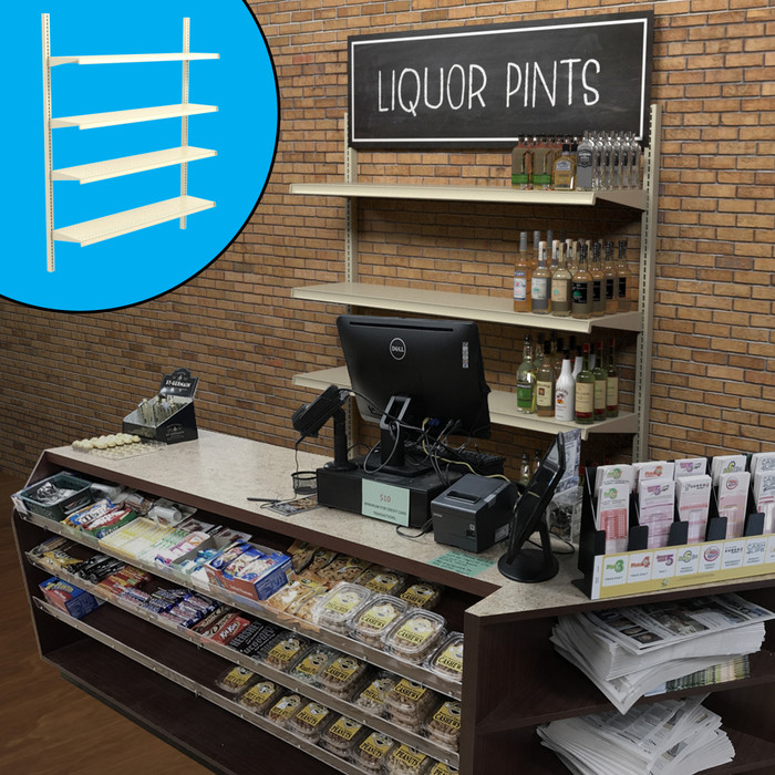 Retail wall display shown behind counter in liquor store configuration with shelves, bottles, and signage. Inside image shows base shelf.