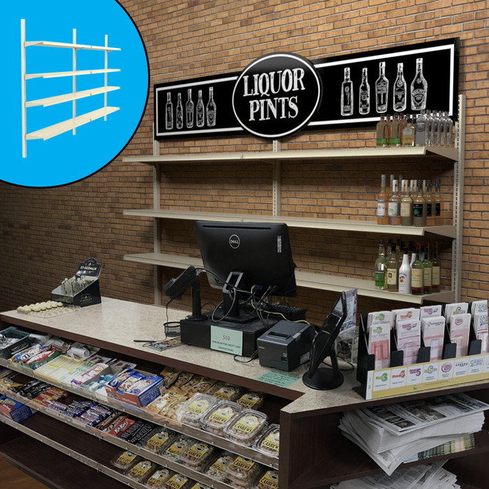 Retail wall display shown behind counter in liquor store configuration with shelves, bottles, and signage. Inside image shows base shelves.