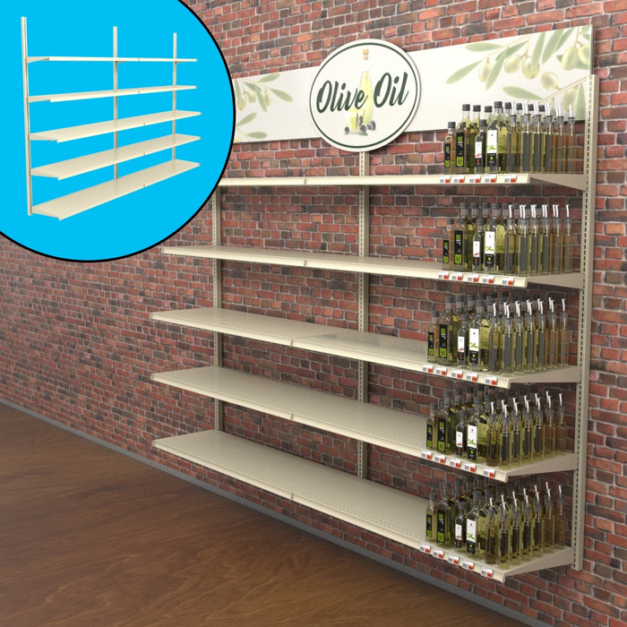 Retail wall display shown in liquor store configuration with shelves, bottles, and signage.