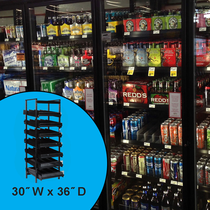 Gravity feed shelving rack display, shown in a liquor store setting holding various beer bottles, cans, 6-packs and cases.