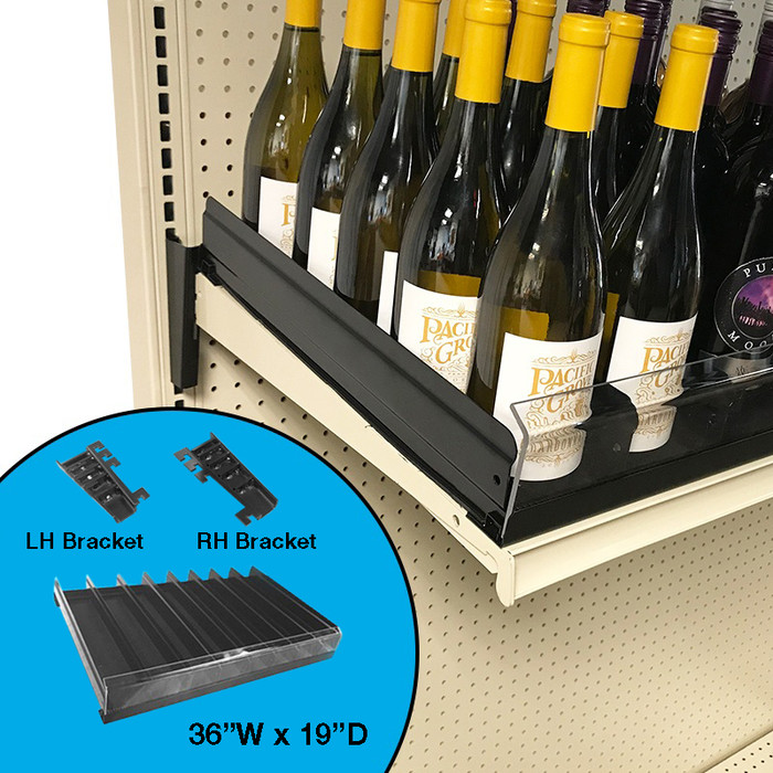 retail shelving gravity feed shelf shown with wine bottle display.