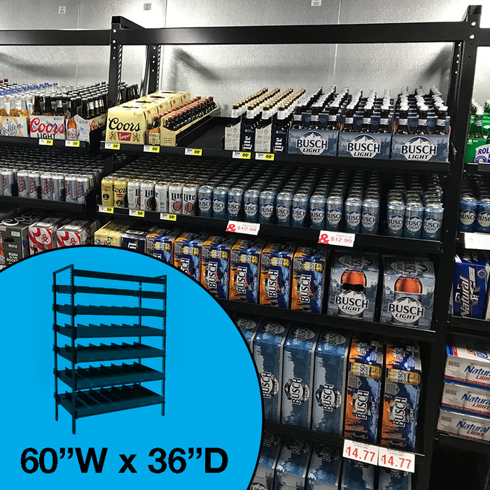 Gravity feed beer shelving, shown in beverage cooler with cases and cans.