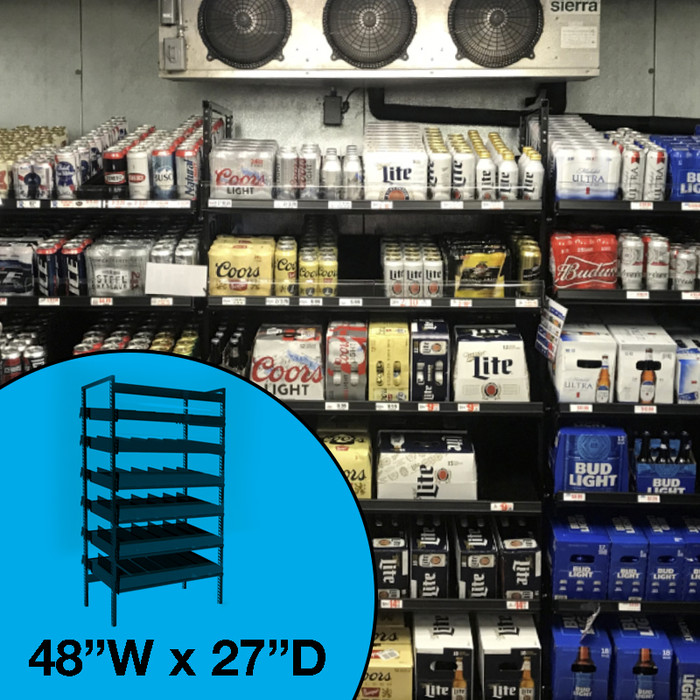 Gravity feed beer cave shelving, shown in beverage cooler with a variety of cases and cans.