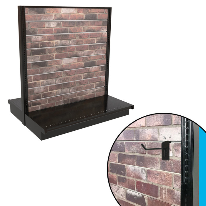 Red brick slatwall double-sided gondola shelving unit shown, with closeup showing slatwall hook.