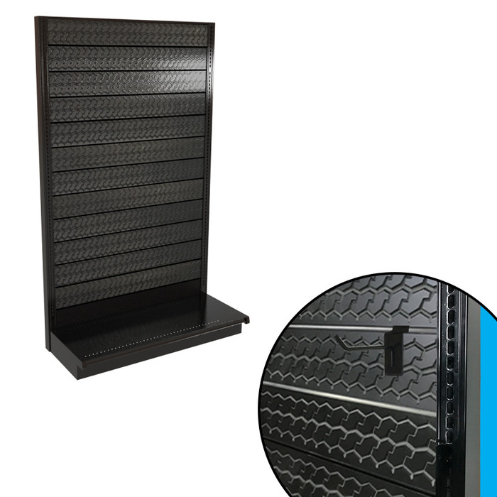 Tire tread slatwall single-sided gondola shelving unit shown, with closeup showing textured panel and slatwall hook.