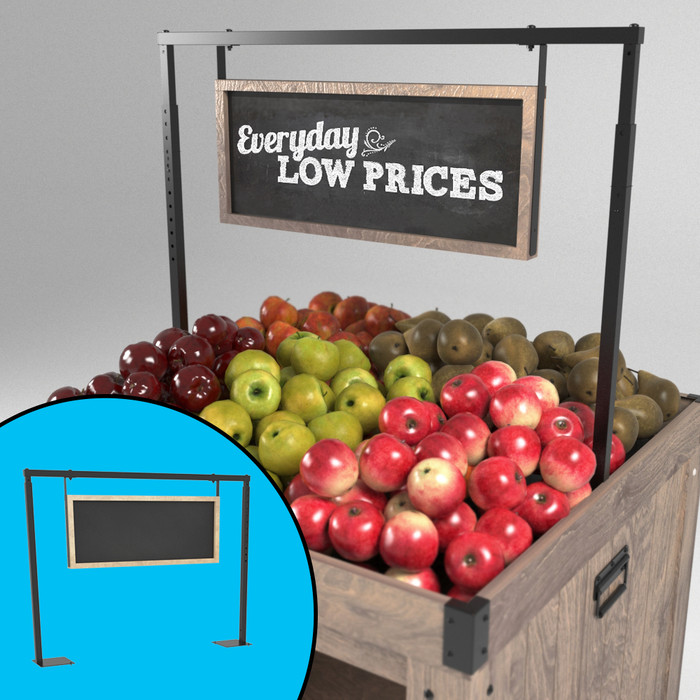 Hanging chalkboard sign shown placed inside an orchard bin, with various fruits underneath.