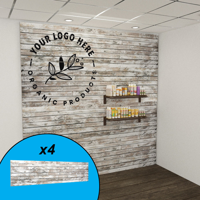 Reclaimed wood textured slatwall wall display with custom graphics and organic beauty products.