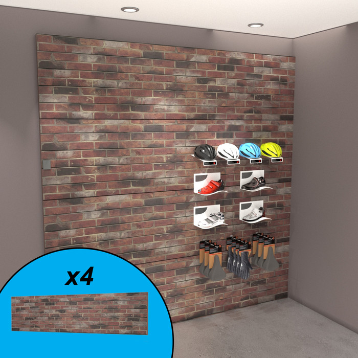 Red brick textured slatwall wall display with bike gear.