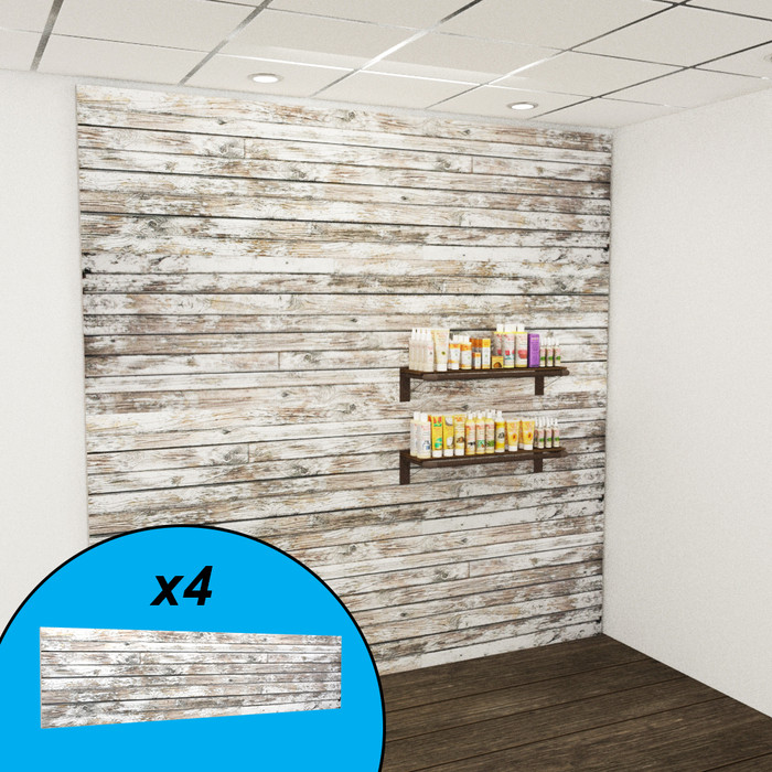 Reclaimed wood textured slatwall wall display with organic beauty products.