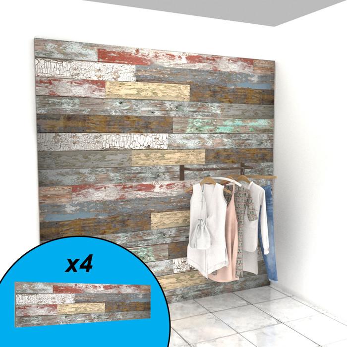 Barnwood textured slatwall wall display with clothing on display.