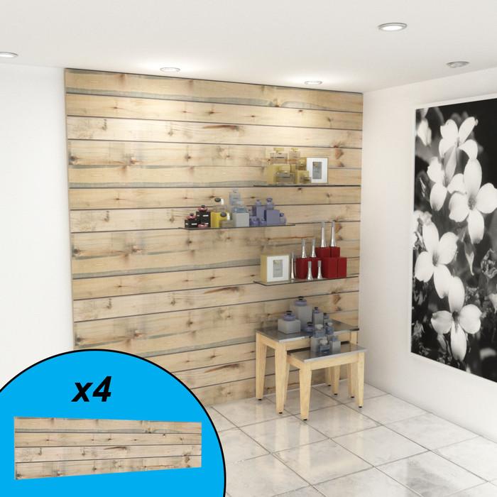 Weathered driftwood slatwall wall display with perfumes on display.