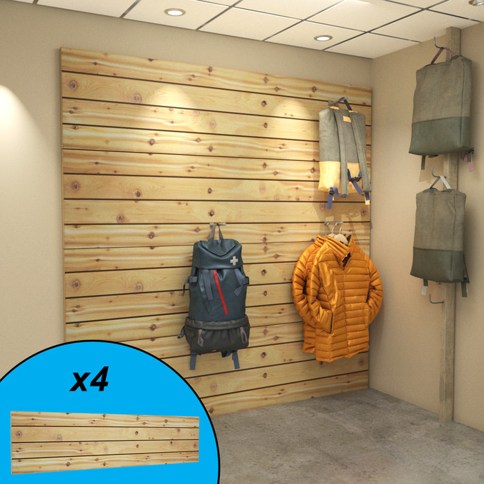 Cedar slatwall wall display with winter and hiking gear on display.