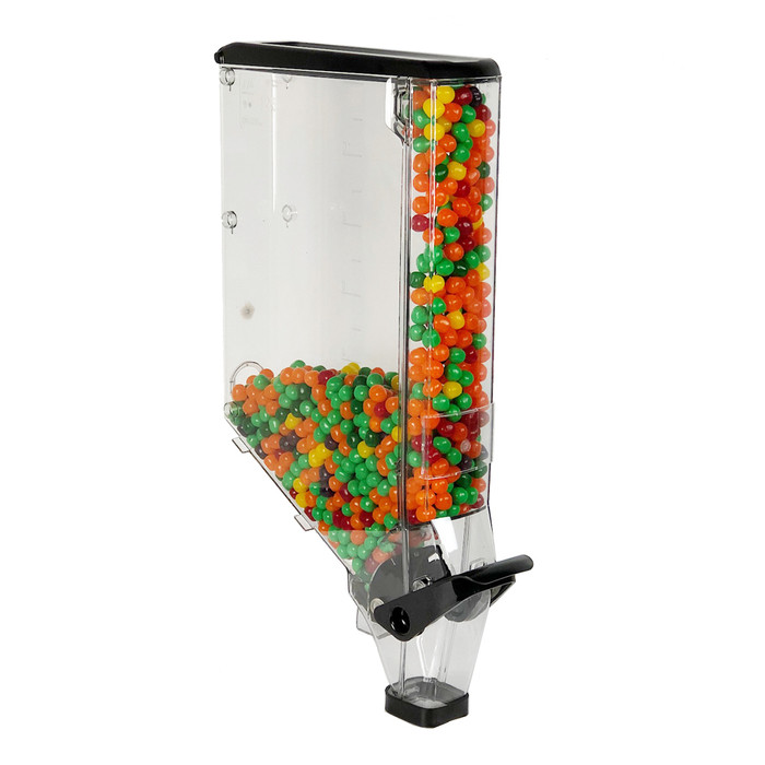 3.3-gallon gravity bin shown filled with candy in both the bin and false front.