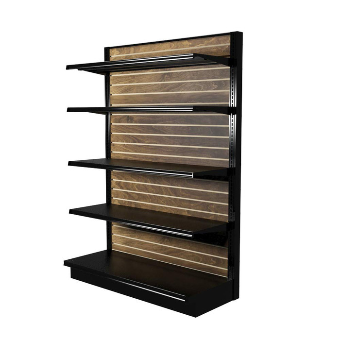 Wood slatwall gondola shelving kit with four 16-inch-deep shelves and one 19-inch-deep base deck.