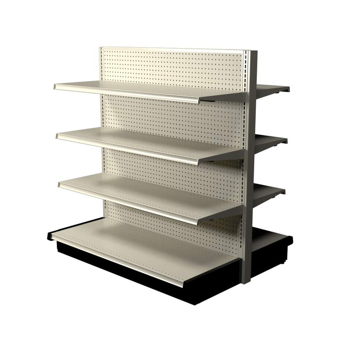 Off-white Lozier double-sided gondola shelving kit with six 16-inch-deep shelves and two 19-inch-deep base decks.