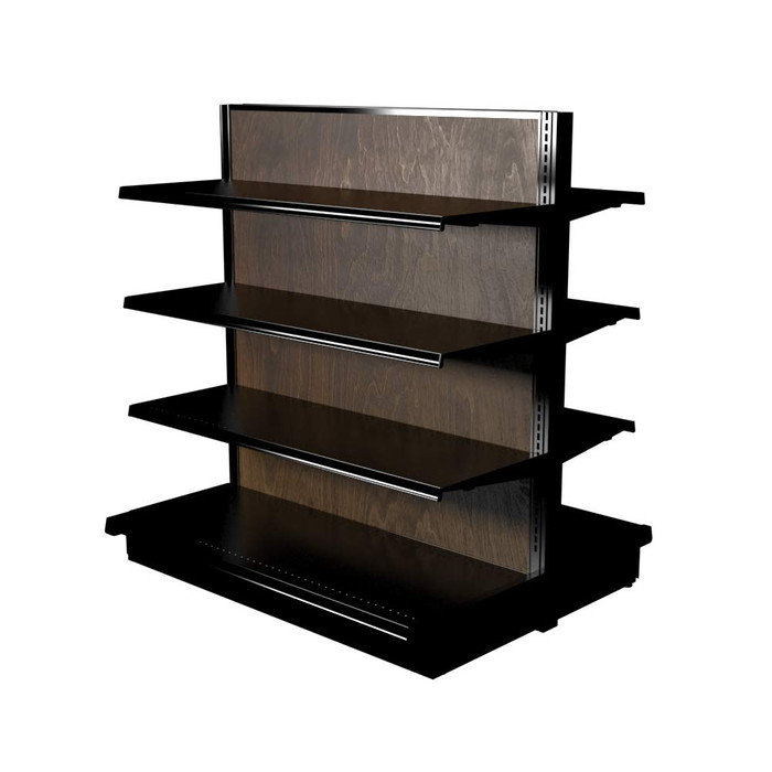 Wood Lozier double-sided gondola shelving kit with six 16-inch-deep shelves and two 19-inch-deep base decks.