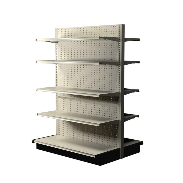 Off-white Lozier double-sided gondola shelving kit with eight 16-inch-deep shelves and two 19-inch-deep base decks.