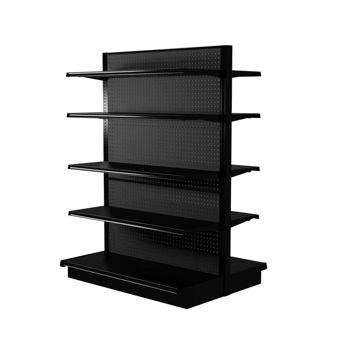 Black Lozier double-sided gondola shelving kit with eight 16-inch-deep shelves and two 19-inch-deep base decks.
