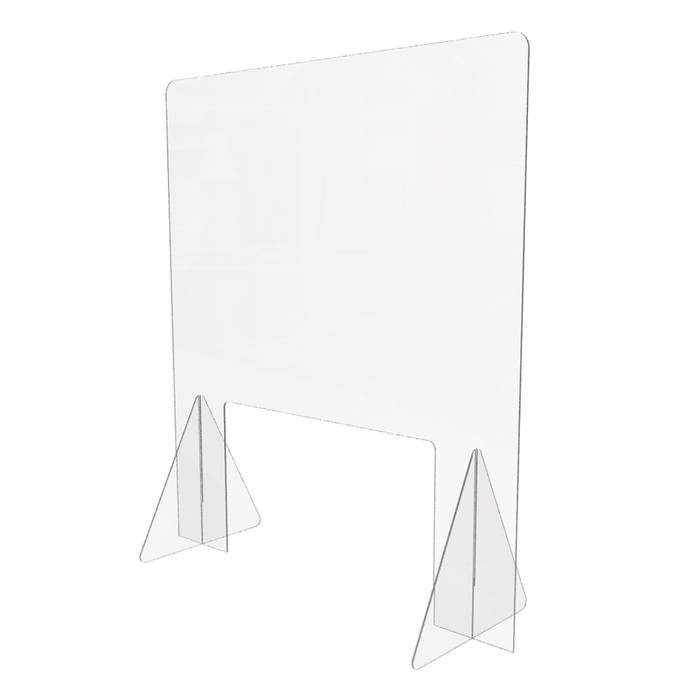 clear plastic freestanding sneeze guard for use on a grocery or c-store checkout counter