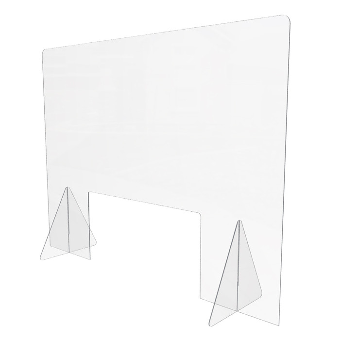 large plastic freestanding sneeze guard with pass through hole for retail checkout counters