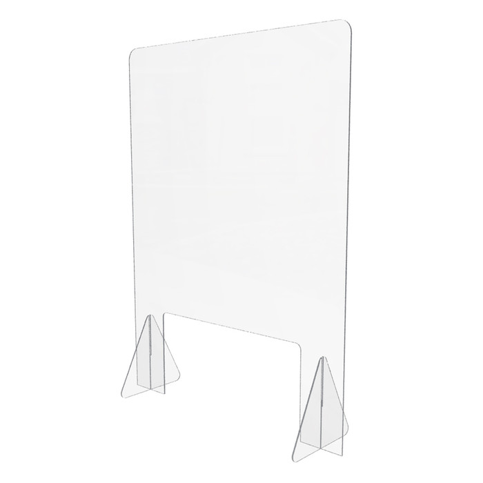 Freestanding acrylic sneeze guard for use on desks and counters made by DGS Retail and 24 inches wide by 32 inches high