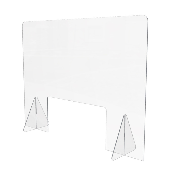 Personal acrylic sneeze guard for desk or counter made by DGS Retail and 32 inches wide by 24 inches high