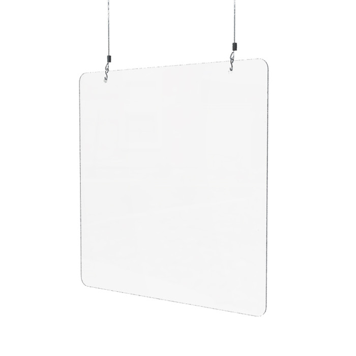 hanging acrylic sneeze guard made by DGS Retail and for use above a checkout counter or a reception desk