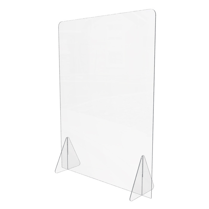 Personal plastic sneeze guard made by DGS Retail that's for use on a desk or a counter and is 24 x 32 inches