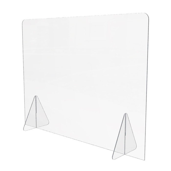 personal acrylic sneeze guard for a desk or tabletop that's made by DGS Retail and is 32 x 24