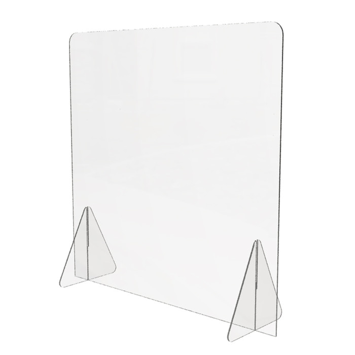 personal plastic sneeze guard made by DGS Retail for use on a desk or a tabletop