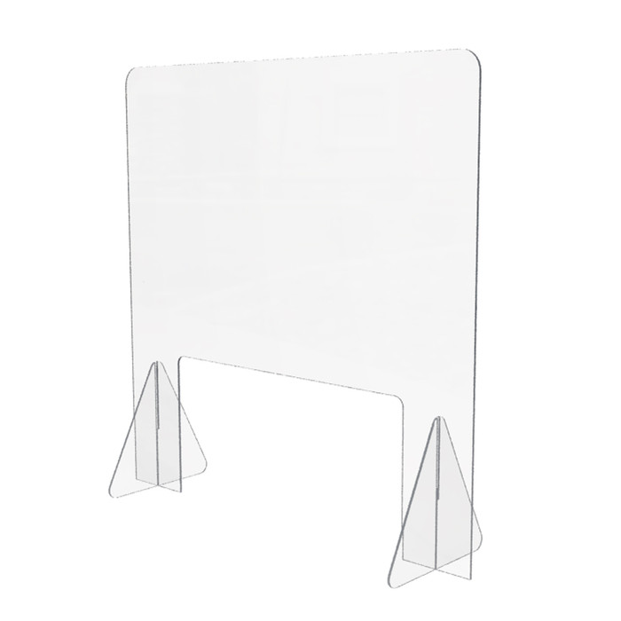 acrylic portable freestanding sneeze guard that's 24 inches high by 24 inches wide and made by DGS Retail