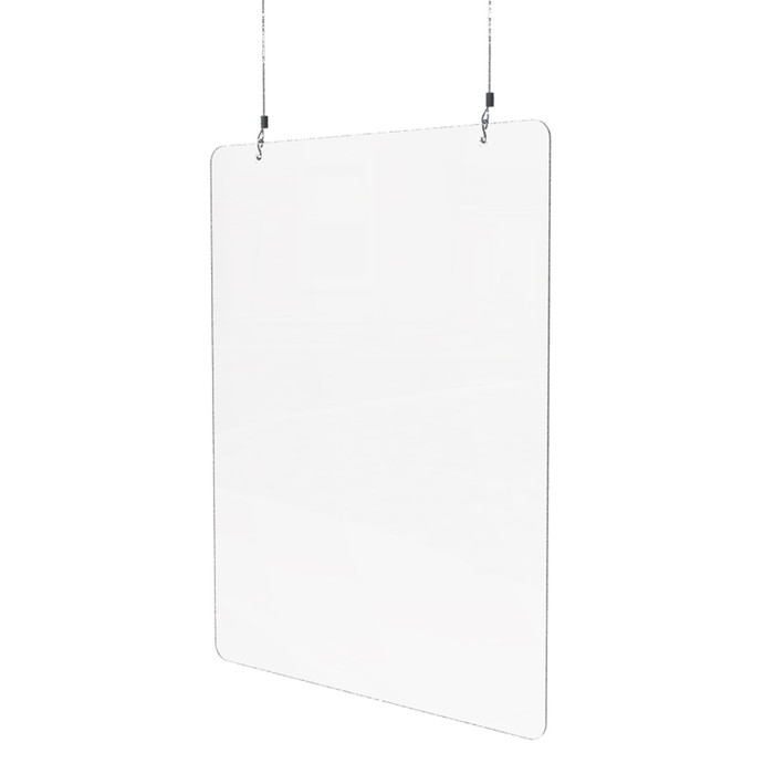 hanging acrylic sneeze guard for use at spas and nail salons
