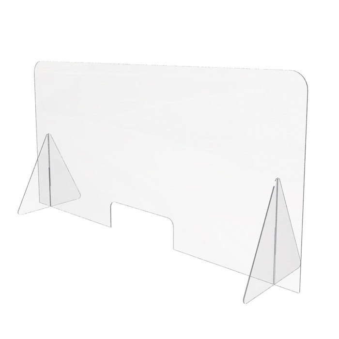 portable clear acrylic sneeze guard with access hole