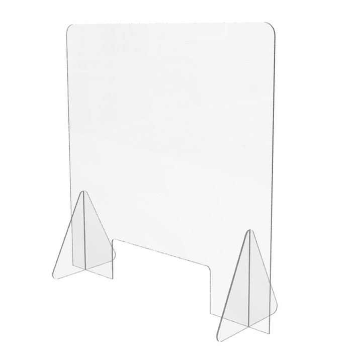 free standing portable acrylic sneeze guard with a small access hole