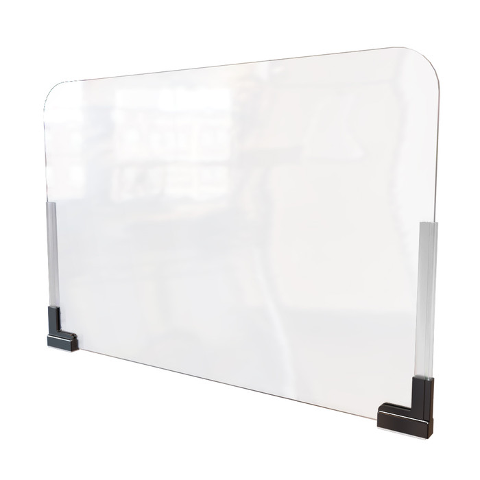 Clear acrylic office cubicle extender sneeze guard with magnetic base manufactured by DGS Retail