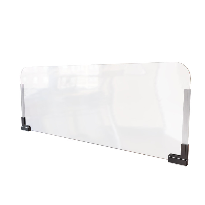 clear plastic office cubicle sneeze guard extender that's manufactured by DGS Retail